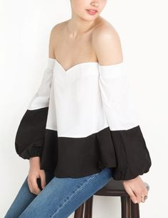 Dual Color Off The Shoulder Top By New Revival; off shoulder; White Fashion, New Fashion, Gypsy Fashion, Monochrome Fashion, Bell Sleeve Shirt, Trendy Tops For Women, Black And White Tops, Feminine Style, Feminine Fashion