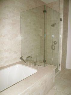 Shower Bathtub & Shower Combo Crema Marfil Tile Bathroom