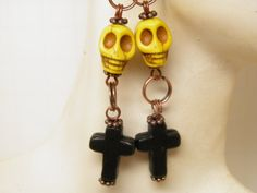 Unique Handcrafted Day of the Dead Earrings with Turquoise Black Crosses and Yellow Turquoise Sugar Skulls with French Style Ear Wires by MelancholyMind