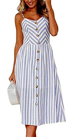 Casual Vintage Sundress Women Summer Dress 2019 Boho Sexy Dress Midi Button Backless Polka Dot Striped Floral Beach Dress Female - S Sexy Summer Dresses, Sexy Dresses, Casual Dresses, Dress Summer, Midi Dresses, Long Dresses, Backless Dresses, Dresses Dresses, Cheap Dresses