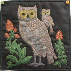 """""""Night Owls"""" by Vicky Isadore.  Mountain Art Quilters 12x12 challenge quilt - 2011."""