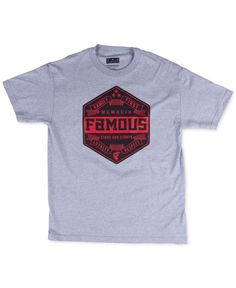 A hexagonal shield at the center of this short sleeve T-shirt from Famous Stars and Straps features the brand's signature logo. | Cotton | Machine washable | Imported | Crew neck | Short sleeves | Gra