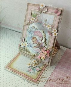 Such a Pretty Mess: Window Easel Framed Card {Maja Design - Vintage Baby} Flip Cards, Fancy Fold Cards, Folded Cards, Baby Girl Cards, New Baby Cards, Card Making Inspiration, Making Ideas, Baby Barn, Baby Frame