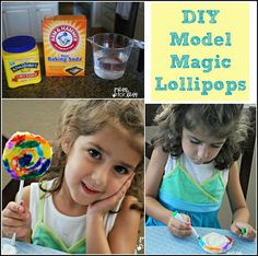 Make brightly colored play lollipops with this DIY Model Magic and markers.