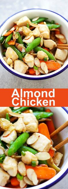 Almond Chicken – tender and juicy chicken stir-fry with almonds, peas and carrots in Chinese brown sauce. So good and much better than takeout | rasamalaysia.com