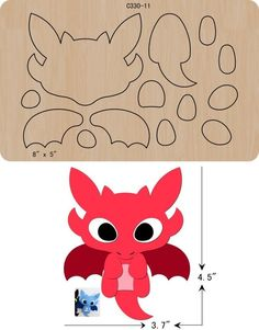 New Cute dragons Wooden die Scrapbooking Cutting Dies Felt Animal Patterns, Felt Crafts Patterns, Stuffed Animal Patterns, Dragon Birthday, Dragon Party, Sewing Toys, Sewing Crafts, Moldes Halloween, Felt Dragon