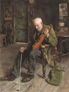 Painting by Charles Spencelayh an English genre painter and portraitist in the Academic style. Paintings I Love, Beautiful Paintings, Violin Art, Gauguin, Mary Cassatt, Romanticism, Matisse, Oeuvre D'art, Art Music