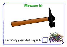 Here's a set of 20 images that give students practice measuring the height and width of various pictures with paperclips.