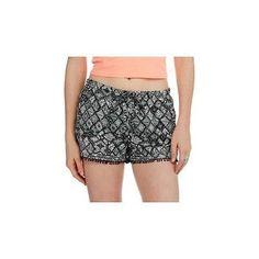 No Boundaries Juniors Printed Tassle Hem Soft Shorts, X-Small (1), Black/Mint