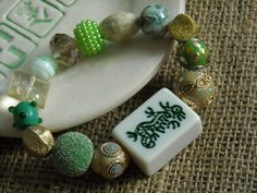 Mahjong Dragon Tile Bracelet - Jesse James Beads Jewelry - Mah jong Bracelet by MahjongJewelry on Etsy