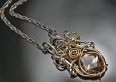 Smokey Quartz and Herkimer Diamond Pendant  Talisman by PhilipCrow, $375.00