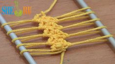 Hairpin Crochet How to Work Strip Tutorial 9 Double Crochet Stitches  https://www.youtube.com/watch?v=bgL0xmoJUrU In this tutorial we are showing you how to crochet a hairpin lace strip or hairpin lace braid where the cord that runs in the middle of the loom made of double crochet stitches. In 2 strands of each loop we work 2 double crochet stitches. Please subscribe to see more tutorials in hairpin lace technique. Thanks!