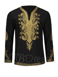 African Fashion Dashiki V-Neck Golden African Ethnic Printed Slim Fit Men's Luxury Shirt African Dresses Men, African Clothing For Men, African Wear, Nigerian Men Fashion, African Men Fashion, Mens Luxury Shirts, Kaftan, Mens Fashion Suits, Fashion Outfits
