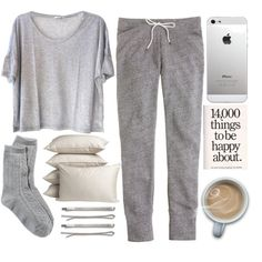 today i have no class A fashion look from November 2013 featuring gray t shirt, slim sweatpants and grey socks. Browse and shop related looks. Cute Lazy Outfits, Casual Outfits, Cool Outfits, Lounge Outfit, Lounge Wear, Lounge Clothes, Joggers, Teen Fashion, Shoes
