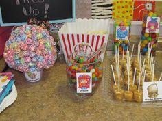 Shopkins Birthday Party Treat Food Table.  Jelly B ~ jelly beans. Lolli Poppins ~ lolli pop tree.  Poppy Corn - popcorn ~ Puff Corn