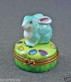 Hand Painted French Limoges Box Cute Bunny Rabbit on Box with Easter Eggs.