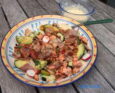 Salmon and Bacon Salad with Egg Horseradish Sauce Bacon Salad, Egg Salad, Potato Salad, Horseradish Sauce, Smoked Salmon, Salad Plates, Boiled Eggs, Bite Size