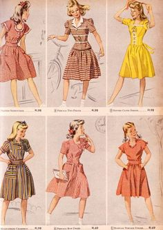 teen fashion from 1944. Colorful cotton day dresses. I love how with a few tweaks, even these designs would work for a gal out of her teen years. The yellow one is especially pretty.