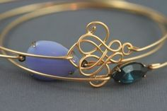 Lilac and montana blue gold bangle set by rachael