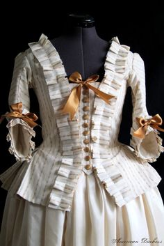 SABRINA open this one, We could use elastic rather than ribbons so you could slide into the gown without someone else trying your back bows.   18th Century Pet en l'Air Caraco Jacket c 1776.