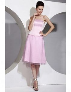 Custom Strapless Satin Knee-Length Bridesmaid/ Wedding Party Dresses