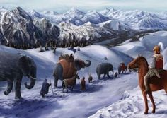 crossing the alps Carthage, Miguel Angel, Barbarian, Warfare, Mount Everest, Beast, Illustration, Elephant, African