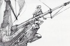 barryjohnson77:  Treasure Planet. This early pen and ink sketch by Glen Keane shows Jim Hawkins on the bow of the Legacy. I love how it speaks to the spirit of adventure. The details and up angle of the drawing are great. Noble, and looking to the horizon (or vastness of space in this case.)