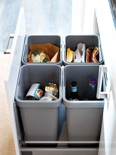 RATIONELL waste sorting system, you can separate your recyclables right away in your kitchen. Simply open your cabinets or drawers and toss in scraps as you work. The bins are easy to lift and carry, and lids lock in odors. Kitchen Pantry, Kitchen Reno, Kitchen Remodel, Kitchen Modern, Updated Kitchen, Vintage Kitchen, Kitchen Ideas, Kitchen Island, Kitchen Organisation