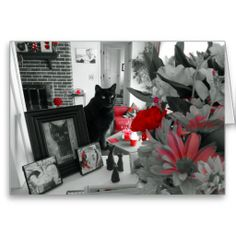 Black Cat and Red Flowers Mother's Day Card Mother's Day Greeting Cards, Custom Greeting Cards, Mothers Day Flowers, Various Artists, Cool Cards, Red Flowers, Thoughtful Gifts, Cats, Prints