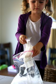 Ice cream in a bag. I've made this with my granddaughters.  It is fun and yummy.