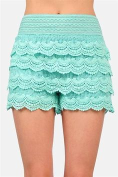 [5713-Size M] Mint Blue with Lace Floral Pattern Shorts   kcloth - Clothing on ArtFire