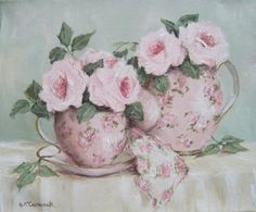 Original Painting on Canvas Stretcher - Rosy Tea Time - Postage is included in the price Australia wide