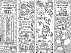 8 Coloring Bookmarks with Feel Good Quotes; Printable Coloring Bookmark Templates; Inspirational Bookmarks #coloring #bookmarks