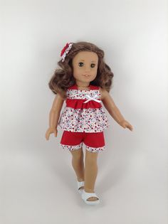 American Girl Doll Clothes - Ruffled Tulip Top, Shorts, & Hair Bow in… Sewing Doll Clothes, Baby Doll Clothes, Doll Clothes Patterns, Doll Patterns, Barbie Clothes, Dress Patterns, American Girl Dress, American Doll Clothes, American Girls