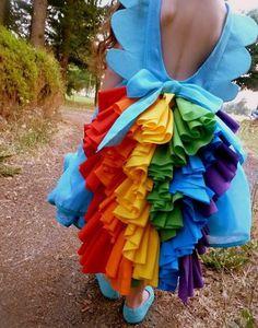 """Resulta que Clarita nos solicito un bonito disfraz, a lo cual accedimos encantandas, pero no era solo eso, ella quería un disfraz de Rainbow Dash, un personaje totalmente desconocido para nosotras. Pues bien, Rainbow Dash se supone que es una especie de poni pegaso del dibujito animado """"Mi Pequ"""