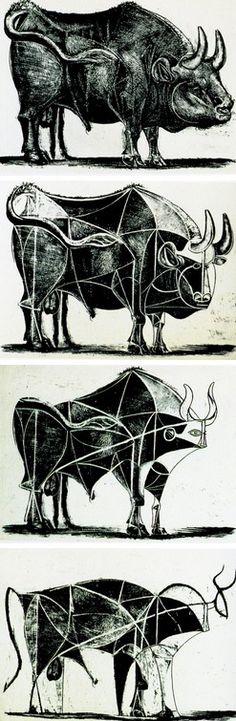 Pablo Picasso - The Bull (State III-VI), 1945 studies depict Picasso's Spanish heritage just a few years after his exile from Spain.