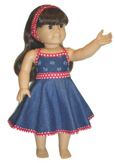 Sundress with headband for 18 inch doll  fits American by dkinley