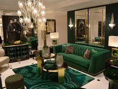 House Interior Design - New ideas Art Deco Living Room, Glam Living Room, Living Room Green, Green Rooms, Interior Design Living Room, Living Room Designs, Green Home Decor, Green Design, Decor Diy