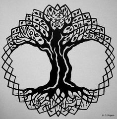 Gabrielle Rogers's Art Gallery Celtic Tree Of Life Paper Black On White Silhouette Other NoBullART Art Gallery Free Online Art Gallery and Artist Community Celtic Symbols, Celtic Art, Celtic Knots, Yggdrasil Tattoo, Tree Roots Tattoo, Tree Of Life Artwork, Ancient Alphabets, Celtic Knot Designs, Elements And Principles