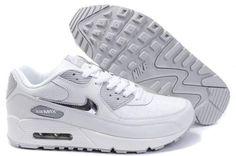 96d2850ba47295 2014 Vente Nike Air Max 90 Chaussures Homme Blanche Grise France Pas Cher Air  Max