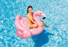 "56"" 86"" Large Flamingo Ride-on Inflatable Island Beach Swimming Pool Float Lilo"