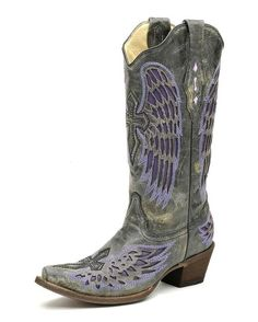 with my angel wings tattoo on my back, I'd love to have these boots  check em out here  http://www.countryoutfitter.com/products/27474-womens-distressed-black-winged-cross-purple-inlay-boot-a1969