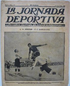 """TAPA DE PORTADA DEL DIARIO """"LA JORNADA DEPORTIVA"""" DEL 10 DE SEPTIEMBRE DE 1923, QUE DA RESEÑA DEL ENCUENTRO DEL CLUB DEPORTIVO JÚPITER DE BARCELONA CONTRA EL FÚTBOL CLUB BARCELONA"""