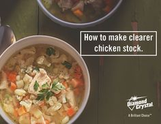Making chicken stock from scratch? Try rubbing the chicken bones with Diamond Crystal® Kosher Salt, then rinse well. The salt helps remove impurities from the bones, resulting in a clearer stock. #DiamondCrystalSalt