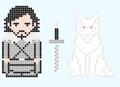 Game Of Thrones - Jon Snow and Ghost - Pixel Art - could be cross stitched for magnets