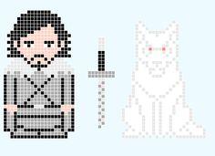 Game Of Thrones - Jon Snow and Ghost - Pixel Art - Desenho de davi182 - Gartic