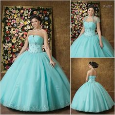 Designer Turquoise Strapless Petite to Plus Size Victorian Fashion Ball Gown Prom Dresses + Bolero SKU-303006