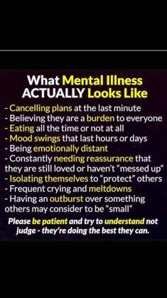 * What mental illness actually looks like.  Amazing Amazing What mental illnes. Mental Illness Awareness, Mental Health Illnesses, Mental And Emotional Health, Mental Health Matters, Mental Health Quotes, Quotes About Mental Illness, What Is Mental Illness, Trauma, Ptsd