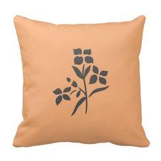 Grey Flower Bouquet on Light Peach Throw Pillow