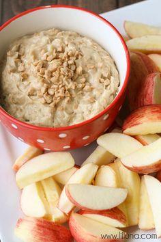 Super quick and easy Apple Brickle Dip recipe { lilluna.com }